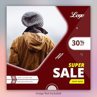 Modelo de banner de oferta de super venda para instagram