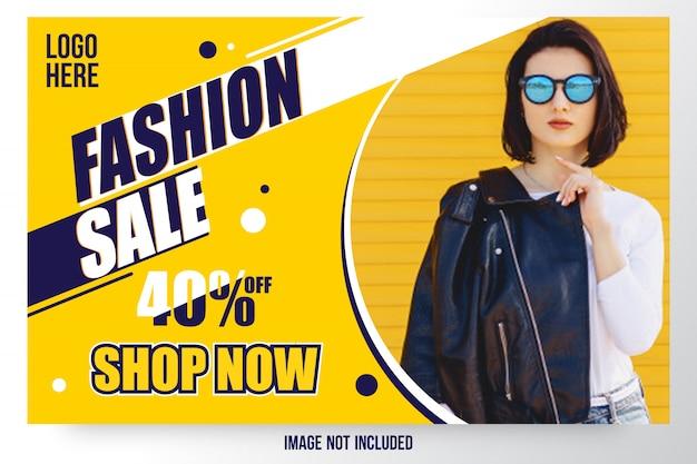 Modelo de banner de oferta de venda de moda abstrata