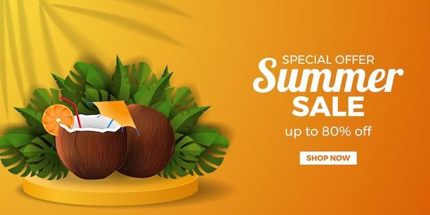 Modelo de banner de oferta de venda de verão com bebida de coco realista com folhas tropicais
