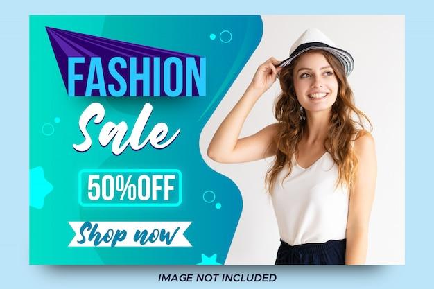 Modelo de banner de oferta de venda moda abstrata