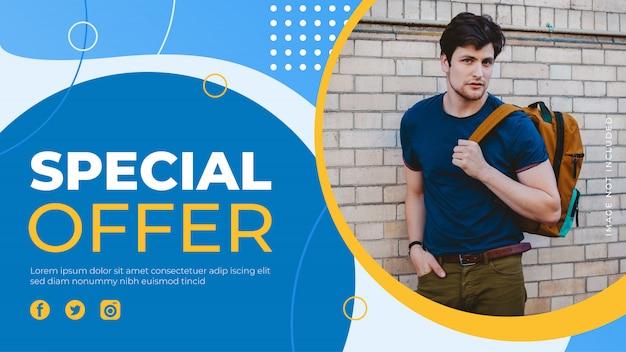 Modelo de banner de oferta especial. banner de venda promoção para site, folheto e cartaz