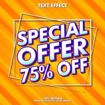 Modelo de banner de oferta especial com efeito de texto editável moderno para promoção