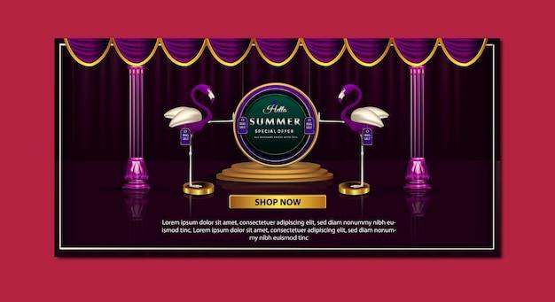 Modelo de banner de oferta especial de promoção de verão de luxo