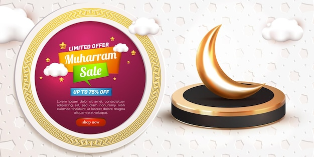 Modelo de banner de oferta limitada 3d de venda muharram