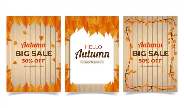 Modelo de banner de outono com fundo de textura de madeira e folhas de plátano