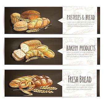 Modelo de banner de pães e doces frescos para padaria