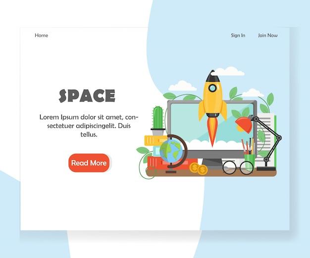 Modelo de banner de página de aterrissagem de site de vetor de espaço