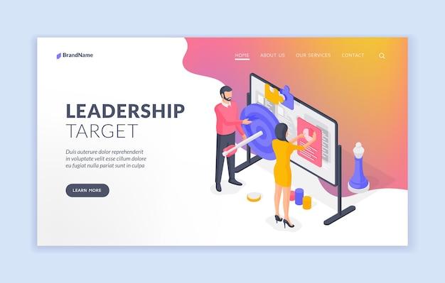 Modelo de banner de página de destino de destino de liderança