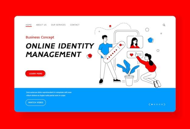 Modelo de banner de página de destino de gerenciamento de identidade online. homem e mulher dos desenhos animados pesquisando e classificando a página nas redes sociais