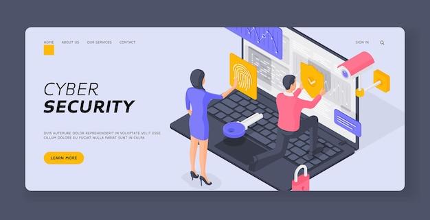 Modelo de banner de página de destino de segurança cibernética. mulher, enviando digitalização de impressão digital perto de um homem colocando escudo de proteção em dados de um grande laptop. ilustração isométrica