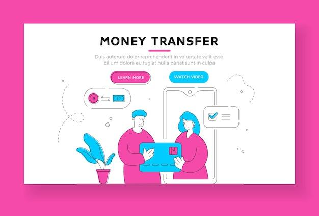 Modelo de banner de página de destino de transferência de dinheiro. homem contemporâneo que usa um aplicativo bancário moderno no smartphone e cartão de crédito para transferir dinheiro remotamente para a namorada distante. ilustração de estilo simples