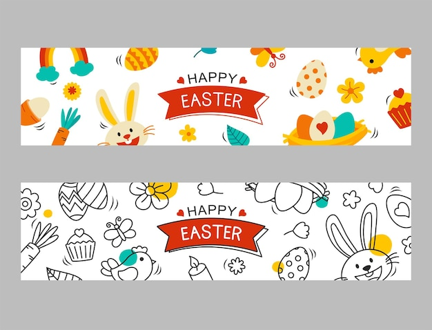 Modelo de banner de páscoa com elemento de objeto decorativo. banner de saudação de ovo de páscoa