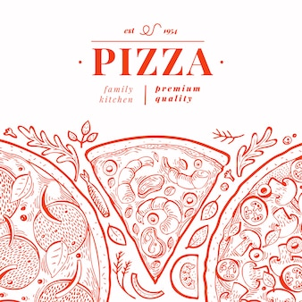 Modelo de banner de pizza italiana. mão desenhada ilustração vintage.