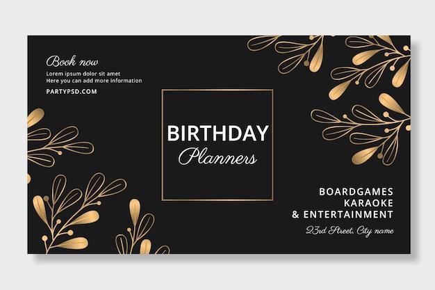 Modelo de banner de planejadores de aniversário