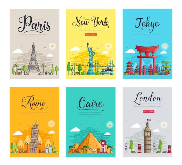 Modelo de banner de pontos de referência de revistas de panfleto pôsteres banners de capa de livro