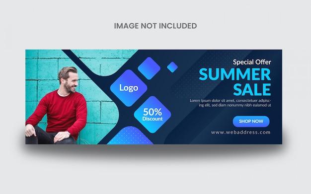 Modelo de banner de post de capa de facebook de venda de verão