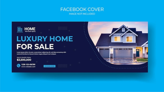 Modelo de banner de postagem de capa em mídia social imobiliária