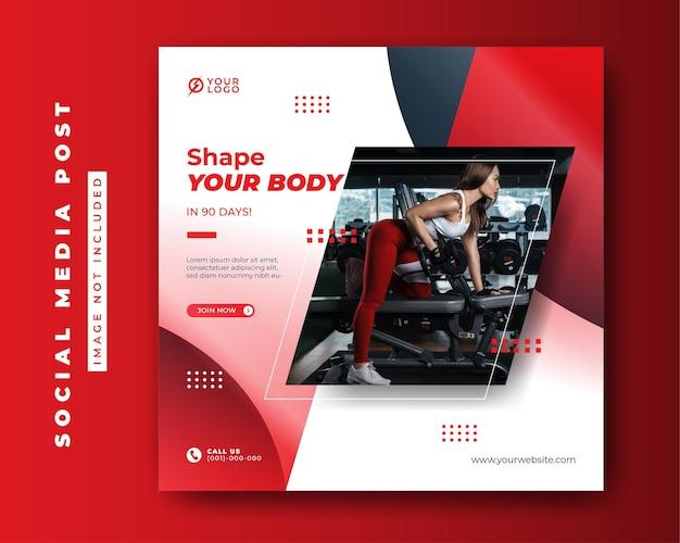 Modelo de banner de postagem de conceito de fitness de mídia social