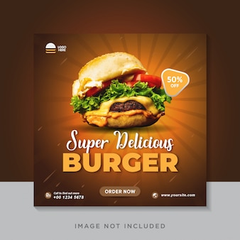 Modelo de banner de postagem de instagram de mídia social de hambúrguer de comida