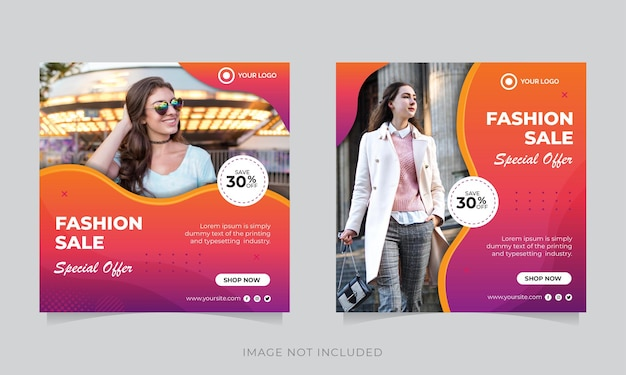 Modelo de banner de postagem de instagram de mídia social para moda ou flyer quadrado