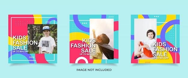Modelo de banner de postagem de instagram de moda infantil