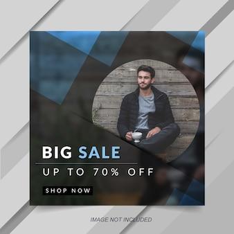Modelo de banner de postagem de instagram de venda de moda azul moderna