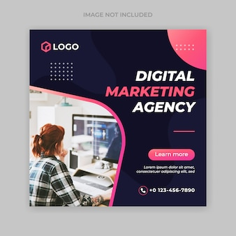 Modelo de banner de postagem de marketing empresarial digital