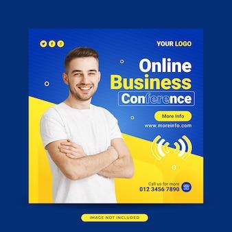 Modelo de banner de postagem de mídia social de conferência de negócios online