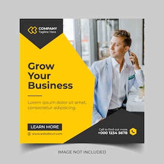 Modelo de banner de postagem de mídia social de marketing de negócios digitais