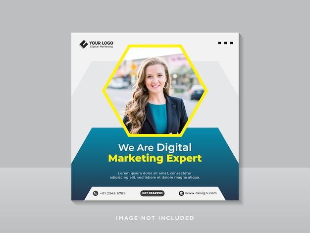 Modelo de banner de postagem de mídia social de marketing empresarial Vetor Premium