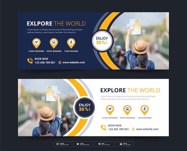 Modelo de banner de postagem de mídia social de viagens