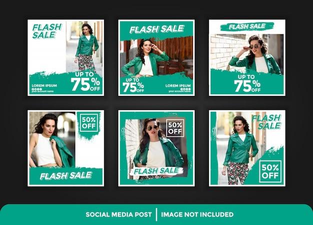 Modelo de banner de postagem de mídia social editável para promoção de moda de marketing digital