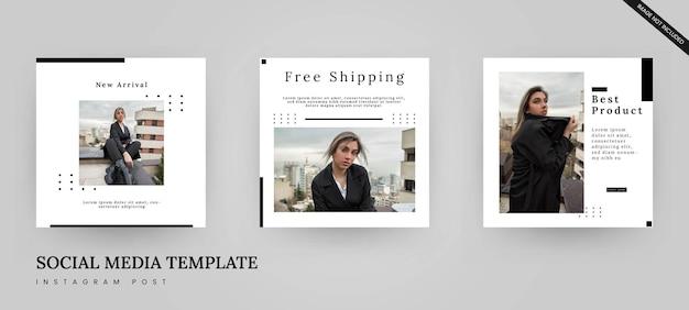 Modelo de banner de postagem de mídia social em preto e branco minimalista