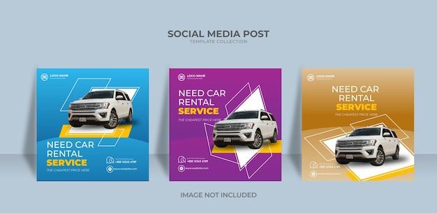 Modelo de banner de postagem de mídia social instagram de serviço de aluguel de automóveis ned