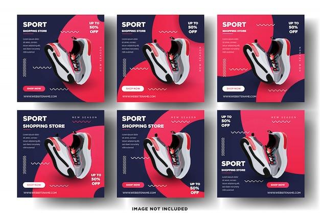Modelo de banner de postagem de mídia social. loja de compras esportivas