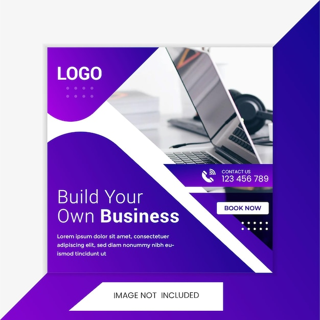 Modelo de banner de postagem de mídia social para agência de promoção de negócios e marketing criativo