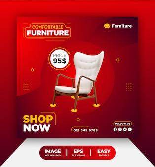 Modelo de banner de postagem de mídia social para cadeira de móveis