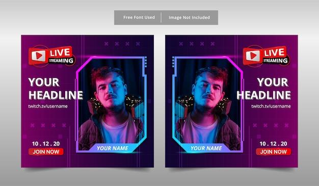 Modelo de banner de postagem de mídia social para jogadores de streaming ao vivo.
