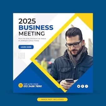 Modelo de banner de postagem de mídia social para reunião de negócios
