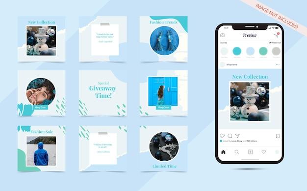 Modelo de banner de postagem de promoção de moda azul orgânico para mídia social