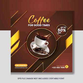 Modelo de banner de postagem do instagram para promoção de café fresco