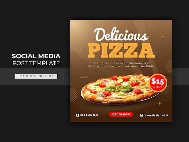 Modelo de banner de postagem do instagram para promoção de cardápio de pizza