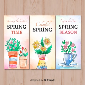 Modelo de banner de primavera aquarela