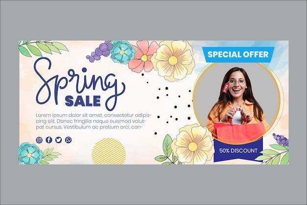 Modelo de banner de primavera em aquarela