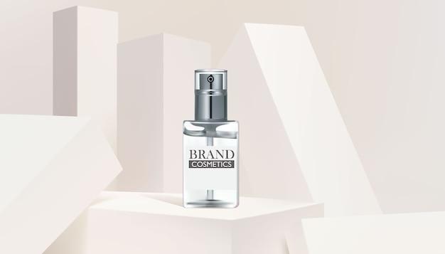 Modelo de banner de produto cosmético de frasco de vidro