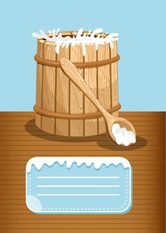 Modelo de banner de produtos lácteos com barril de madeira de leite