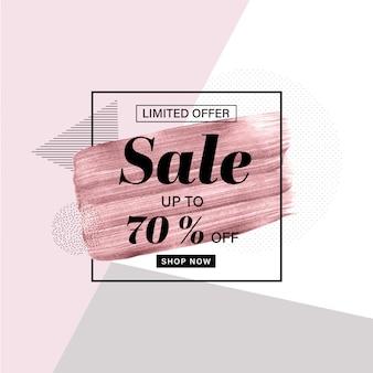 Modelo de banner de promoção com pincel ouro rosa mão desenhada