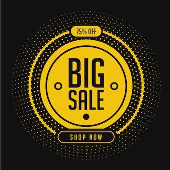 Modelo de banner de promoção de grande venda em amarelo