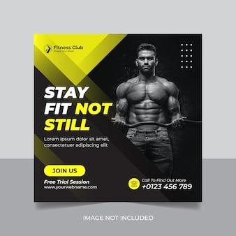 Modelo de banner de promoção de mídia social instagram de academia de ginástica
