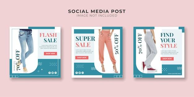 Modelo de banner de promoção de mídia social para loja de moda